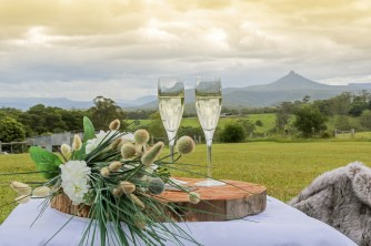 az20180201 MILTON COUNTRY RETREAT in Morton NP. Owner Cassandra Hamel and some of her unique chocolate creations along with a champagne view overlooking Pigeon House mountain. 2 February 2018 Pic by Andy Zakeli
