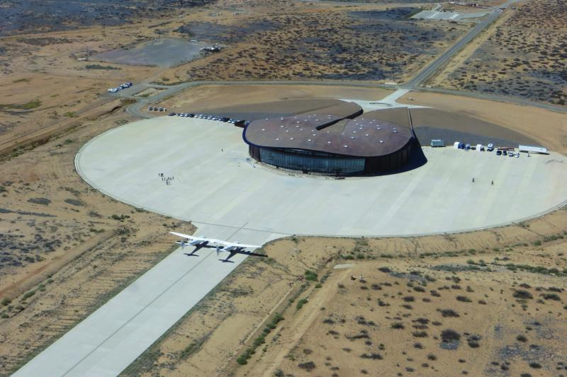Aerial view of Spaceport America with WhiteKnightTwo carrier aircraft, VMS Eve on tarmac