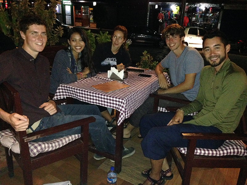 The homestay crew reunite for family dinner at Godfather's Pizzeria