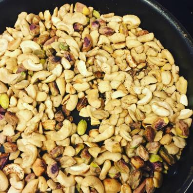 Toasted nuts for super nutty energy balls