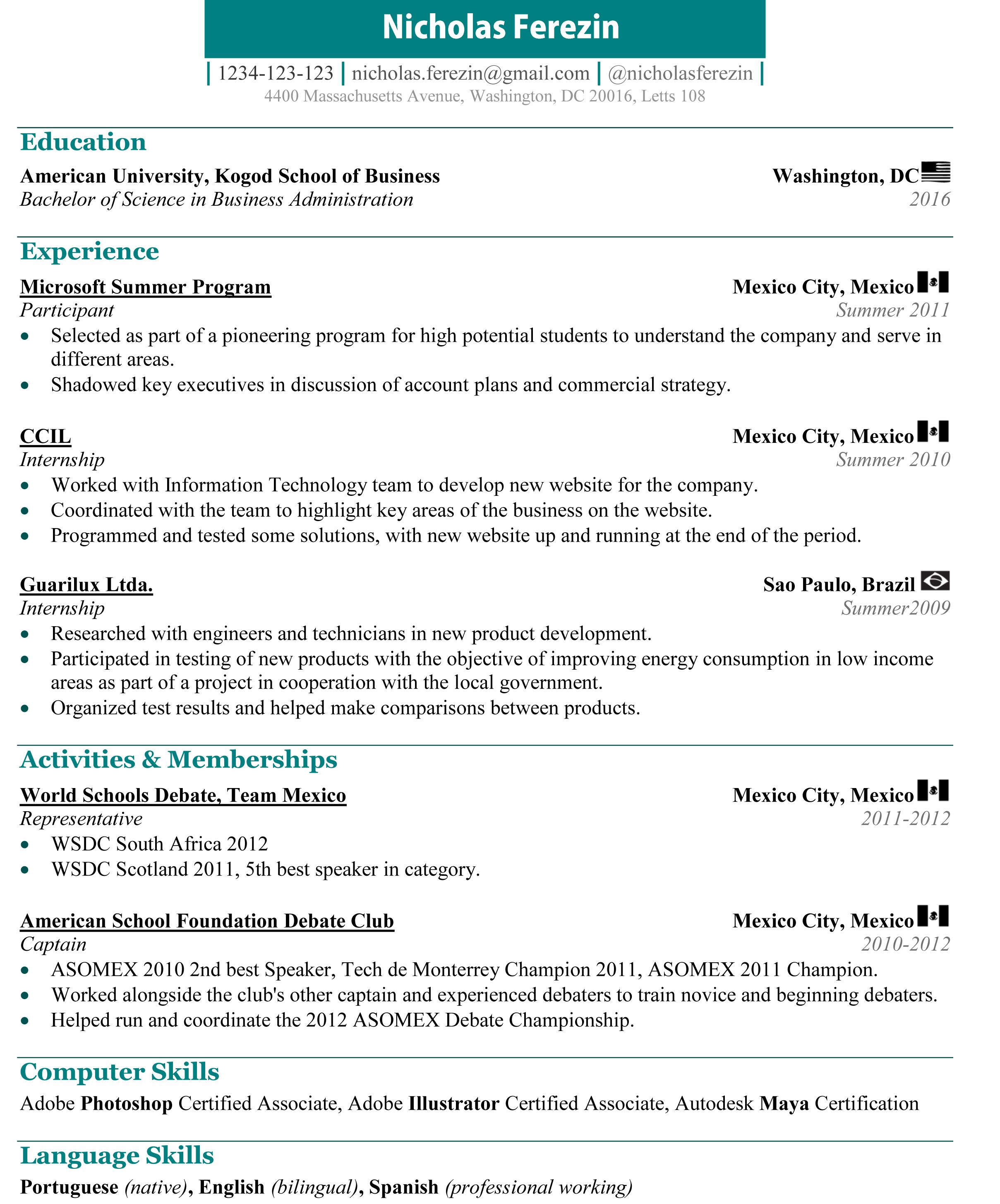 resume stationery and business card nicholas ferezin