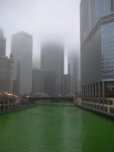 The river turns green in Chicago on St. Patrick's Day.