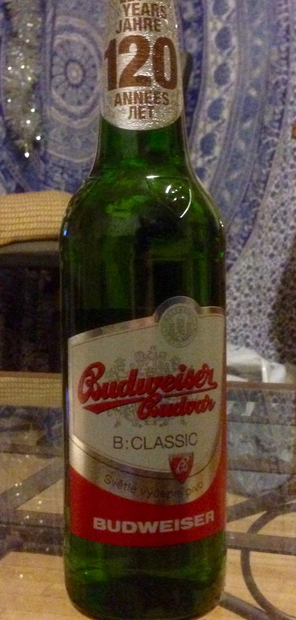 Budweiser Budvar beer, from the Budweiser brewery operating in Bohemia since the 1300s.