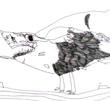 Jaymee Howarth, Shark-Eagle, pen on paper