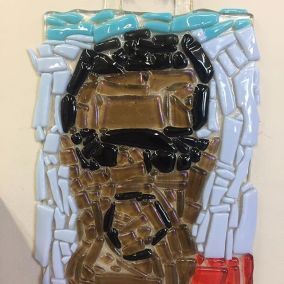 Kanye West in fused glass by Aba Garbrah
