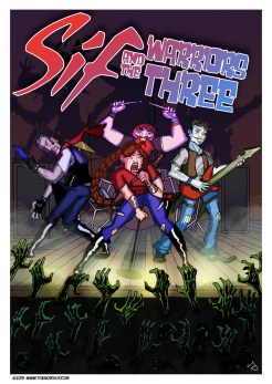 Mock cover of Sif and the Warriors Three as a traveling band that solves mysteries.