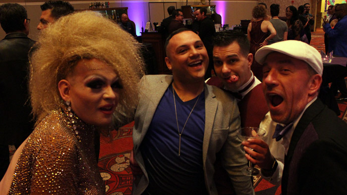 Left to right: Outstanding Drag Queen Nominee Fatima Cavalli, Outstanding Bartender Toby Crespin, Outstanding DJ Nominee DJ Biohazard/Johnathan Tackett, and Sidewinders owner Michael Estacio-Burdick.
