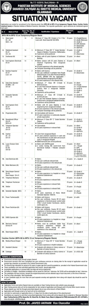 Pakistan Institute of Medical Sciences PIMS Hospital Islamabad Jobs 2016 OTS Test Date Fees For Application Form