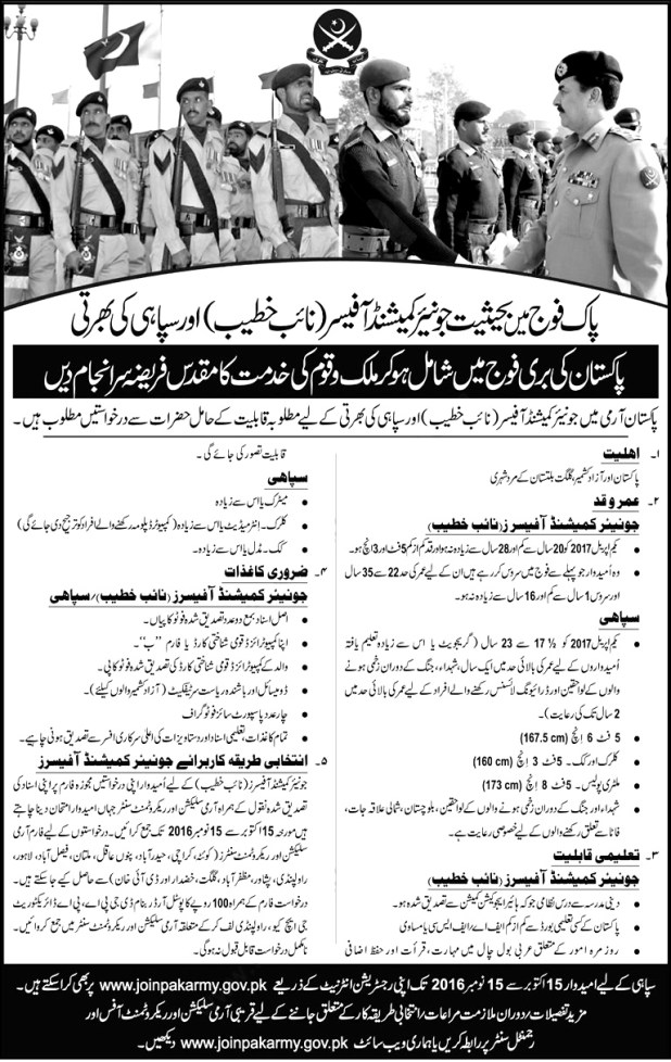 Join Pakistan Army as Sipahi 2016 Jobs Soldiers, Clerks, Cooks Eligibility Criteria Last Date Online Registration