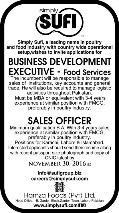 Simply Sufi Pakistan Jobs 2016 Business Development Executives Sales Officers Apply Online Applying Procedure Terms and Conditions