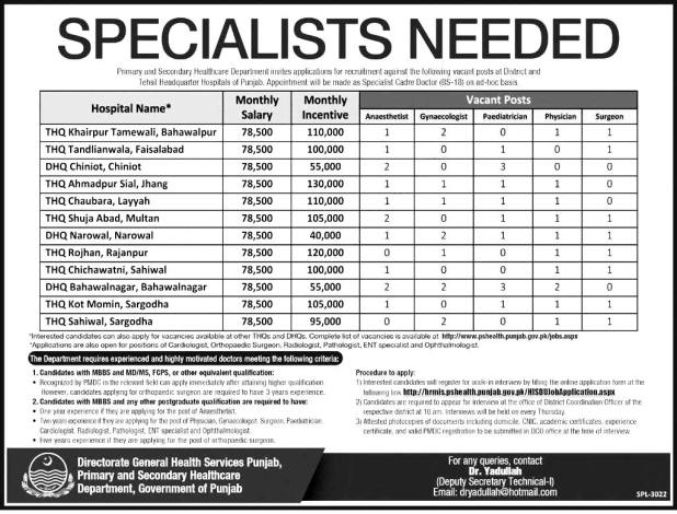 Primary & Secondary Healthcare Department Specialist Doctor Jobs in Punjab 2016 Apply Online Applying Procedure Terms and Condition