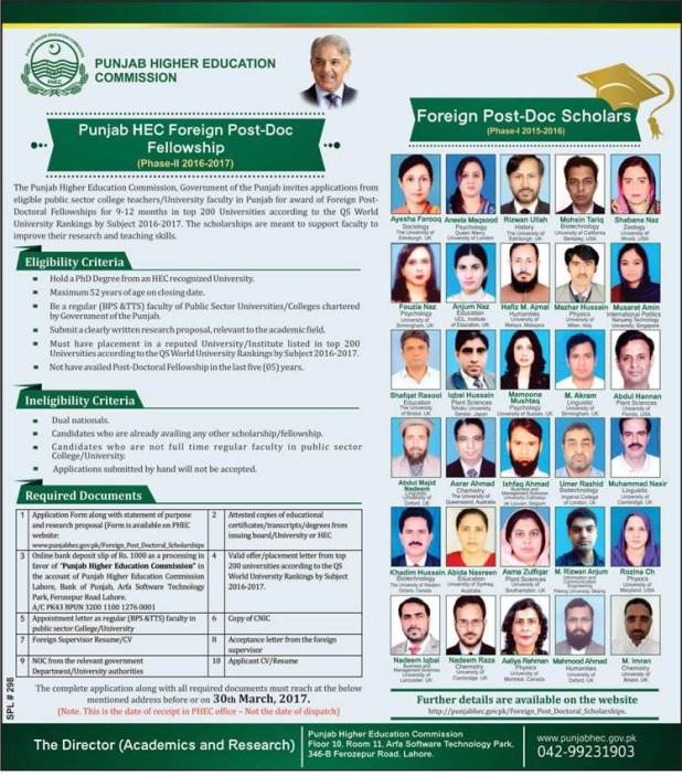 PHEC Punjab Higher Education Commission Foreign Post-Doctoral Fellowships 2021 Download Form Applying Procedure Terms and Conditions