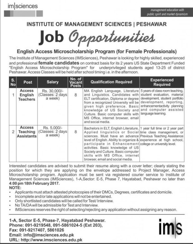 The Institute of Management Sciences (IMSciences ) Peshawar Jobs 2017 Eligibility Criteria Last Date Female Teachers and Teaching Assistants