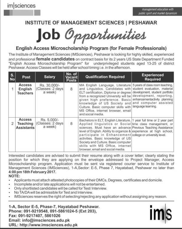 The Institute of Management Sciences (IMSciences ) Peshawar Jobs 2017 Eligibility Criteria Last Date Female Teachers and Teaching Assistants