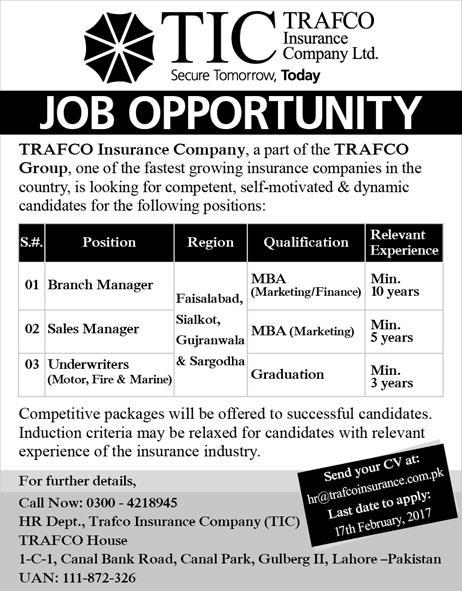 TRAFCO Insurance Company Pakistan Jobs 2017 Download Form Applying Procedure Terms and Conditions