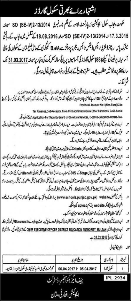 Punjab Government Schools Education Department Multan 2021 Eligibility Criteria Last Date School Guards