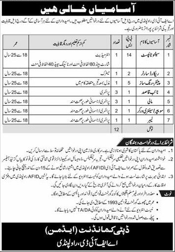 Armed Forces Institute of Dentistry AFID Rawalpindi Stenographer Sweeper Jobs 2021 How Submit Application Form