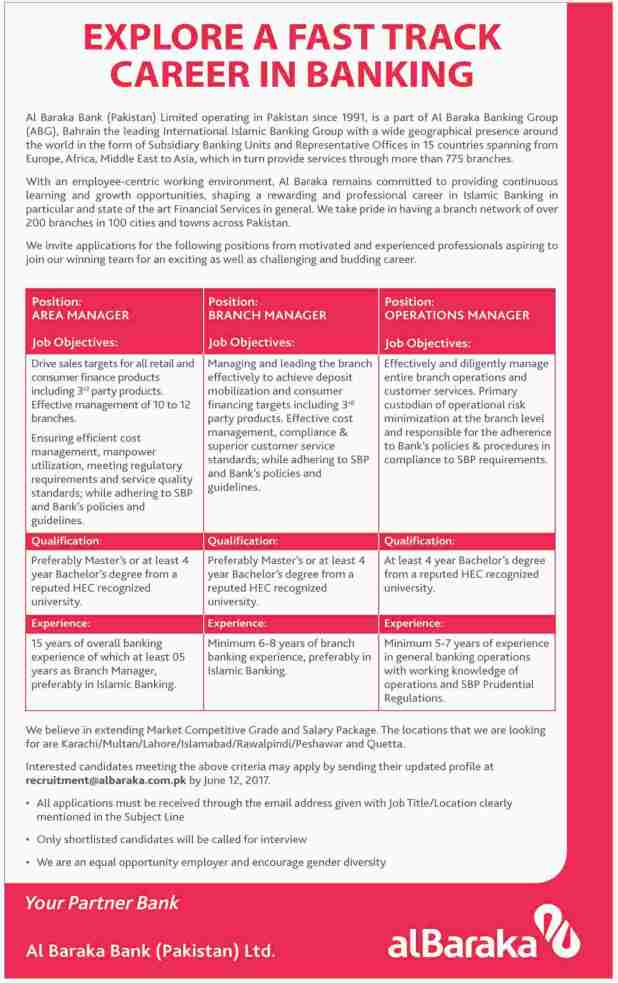 Al Baraka Bank Jobs 2017 Last Date Application Form Download Written Test Schedule