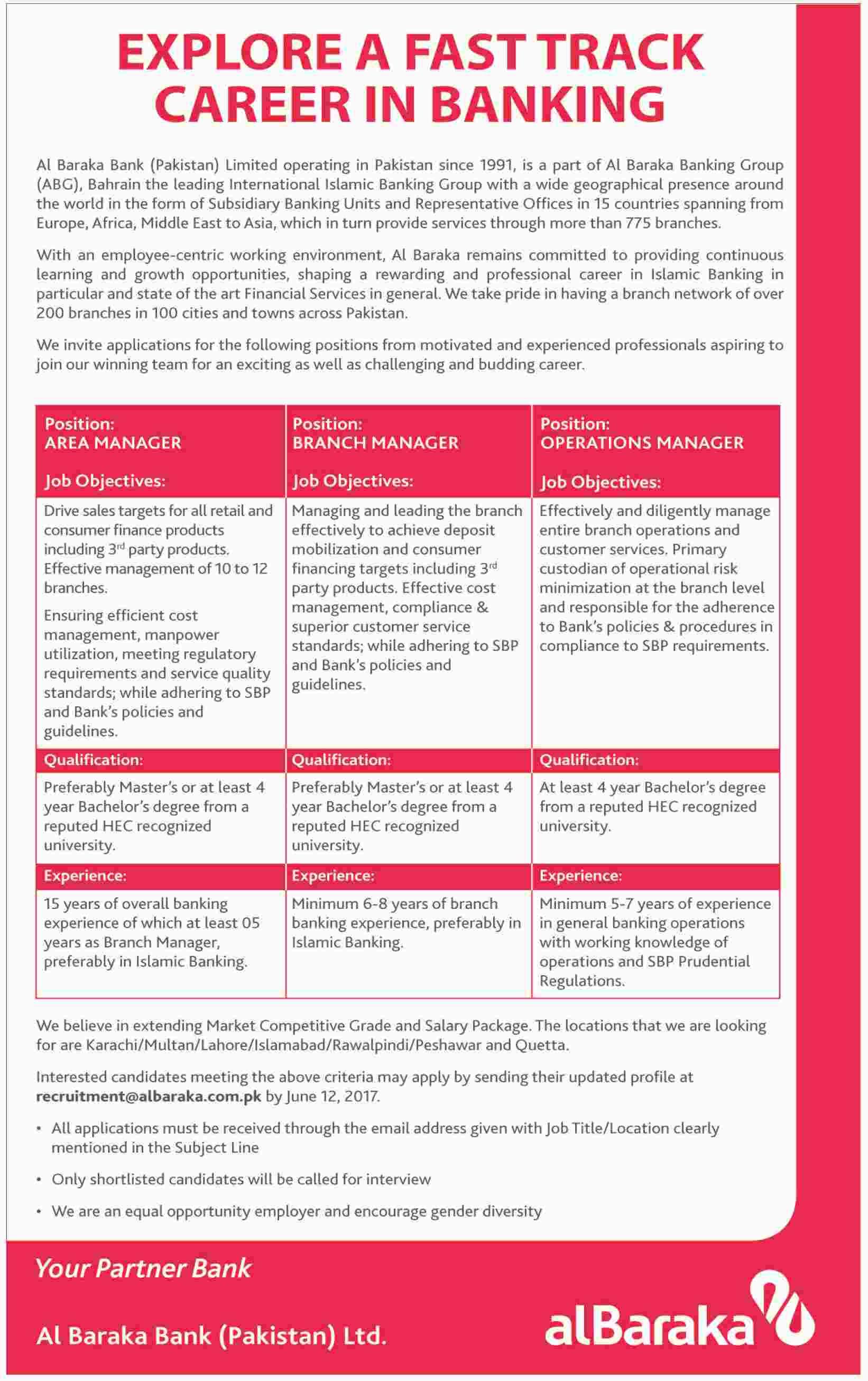 Al Baraka Bank Jobs 2017 Last Date Application Form Download Written ...