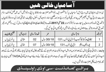 Pakistan Army COD Rawalpindi Jobs 2017 How to Apply Eligibility Criteria Test Interview Important Documents