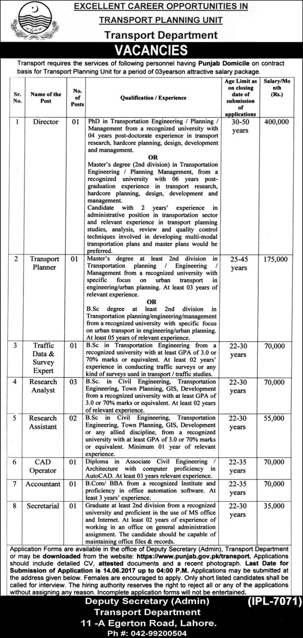 Career Opportunities Transport Planning Unit Jobs 2017 Application Form Test Schedule Last Date How To Apply
