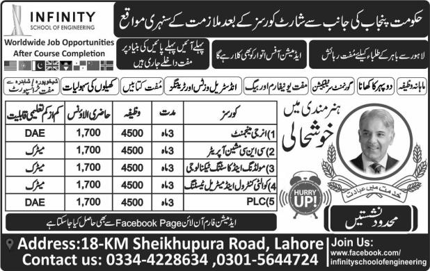 Govt Of Punjab Infinity School Of Engineering Short Courses Admission 2017 Energy Management PLC Application Form Eligibility Criteria Last Date