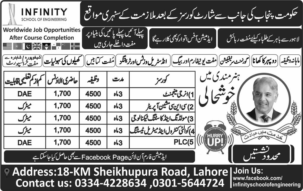 Govt of punjab infinity school of engineering short courses govt of punjab infinity school of engineering short courses admission 2017 energy management plc application form eligibility criteria last date sciox Choice Image