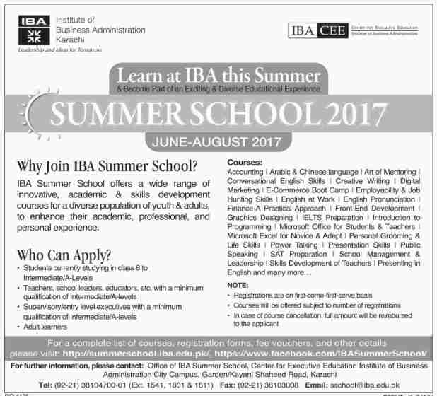 IBA Institute Of Business Administration Karachi Admission 2017 Online Registration How To Apply Test Date Last Date
