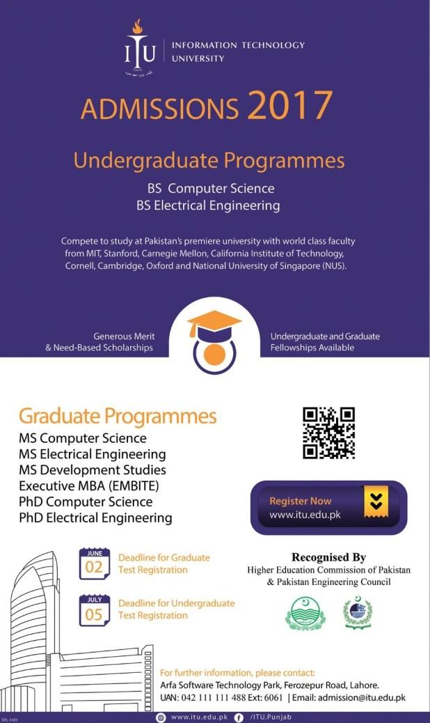 ITU Information Technology University Admission 2017 Study Online BS MS MPhil Programs Entry Test Application Form