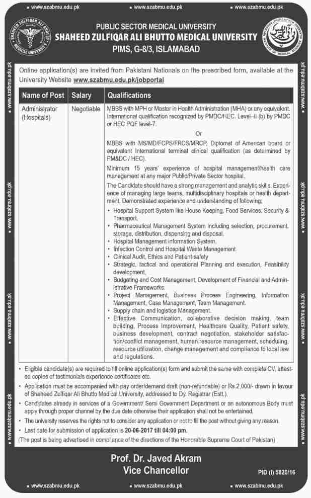 Shaheed Zulfikar Ali Bhutto Medical University Islamabad SZABMU Jobs 2017 Application Form Download Written Test Dates