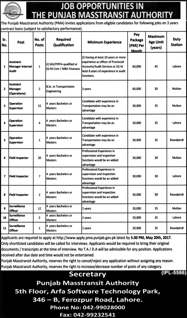 The Punjab Masstransit Authority Application Form Download For Jobs 2017 Test Result Merit List Final Selected Candidates List