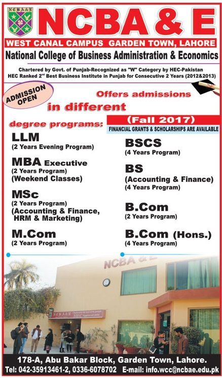 NCBA&E National College Of Business Administration & Economics Lahore Admission 2017 Application Form Eligibility Criteria
