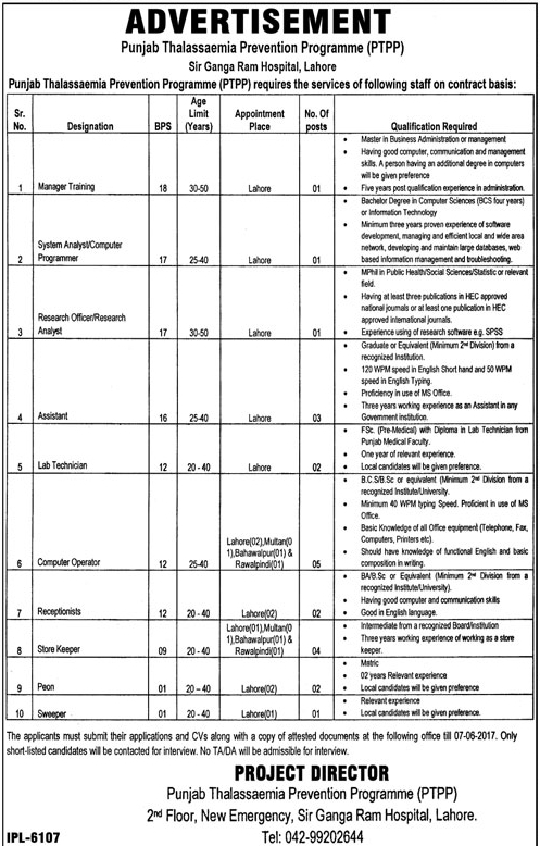 Punjab Thalassemia Prevention Program Jobs 2017 How to Submit Application Form Last Date