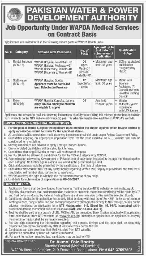 Pakistan Water & Power Development Authority Jobs 2017 NTS Test Application Form Download How To Apply Last Date