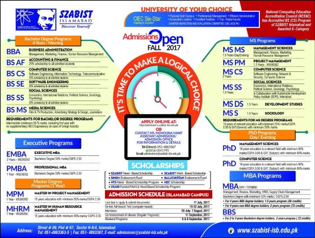 SZABIST Islamabad University Admission 2017 with Scholarships How to Apply For It Eligibility Criteria Written Entry Test Date and Schedule