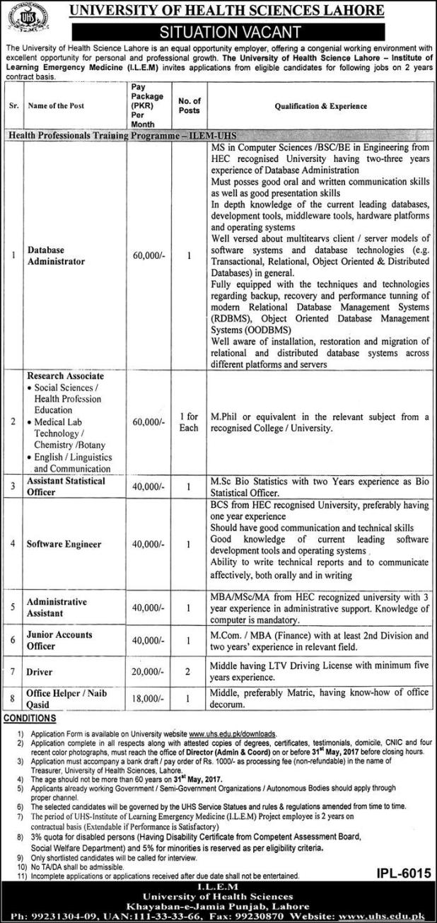 University of Health Sciences Lahore Jobs 2021 Vacancy for Eligible and Interested Candidates Application Form Submission Last Date