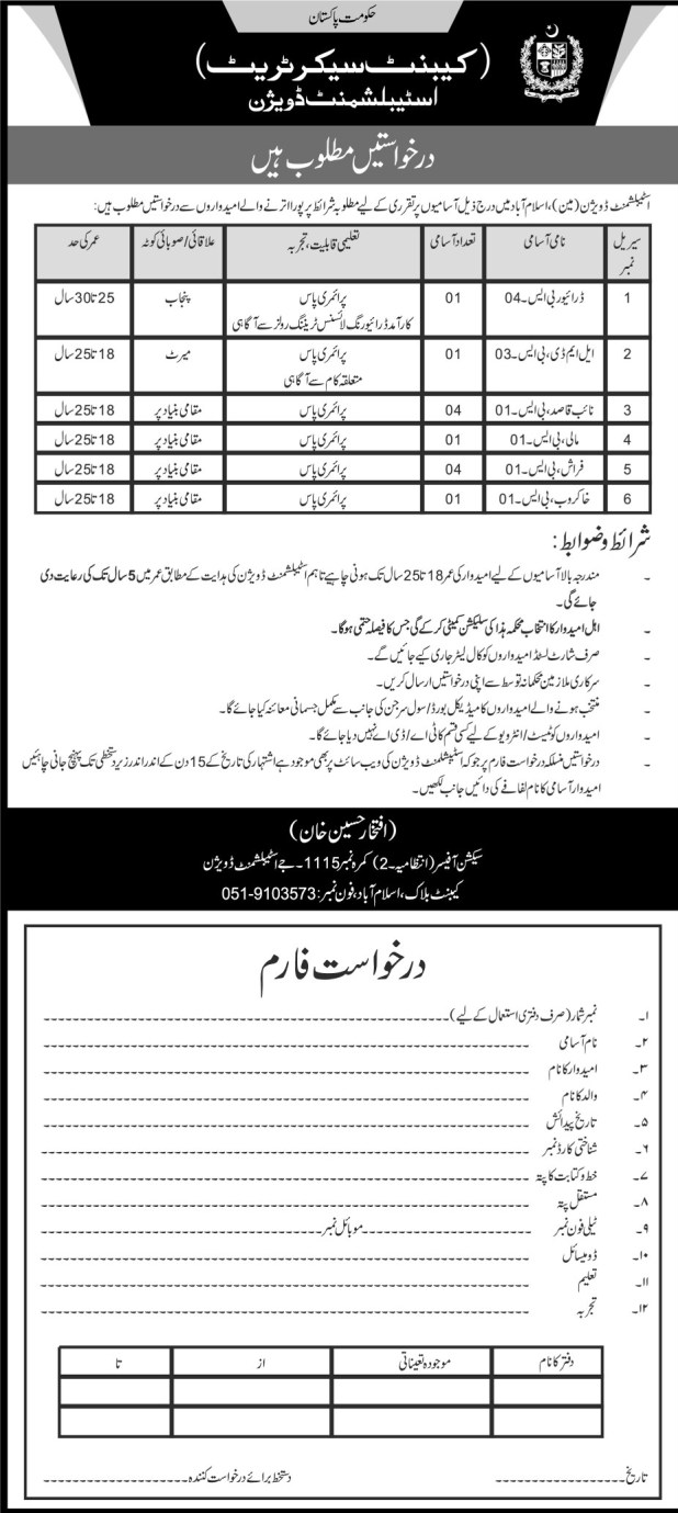 Cabinet Secretariat Specialist Division Govt of Pakistan Jobs 2017 How To Apply Online Eligibility Criteria Last Date Test Schedule