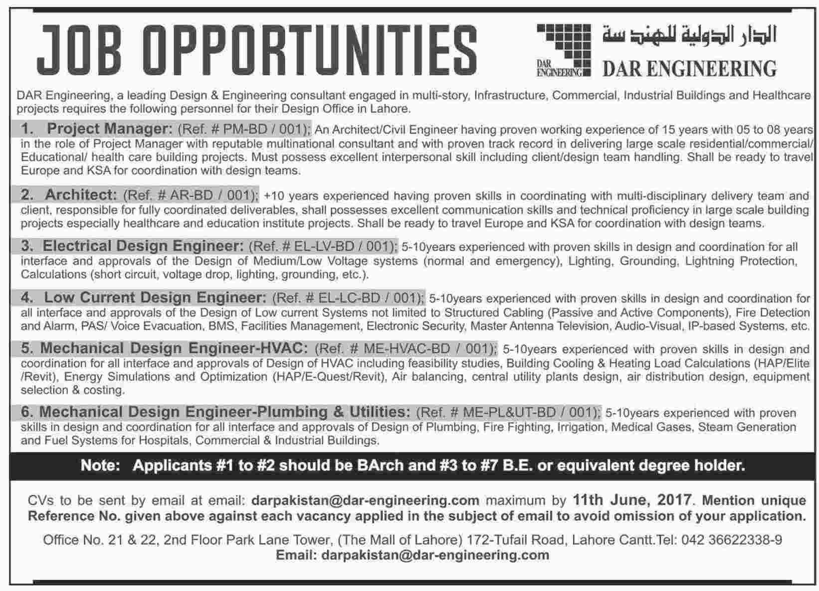 Dar Engineering Lahore Jobs 2017 How To Apply Last Date ...