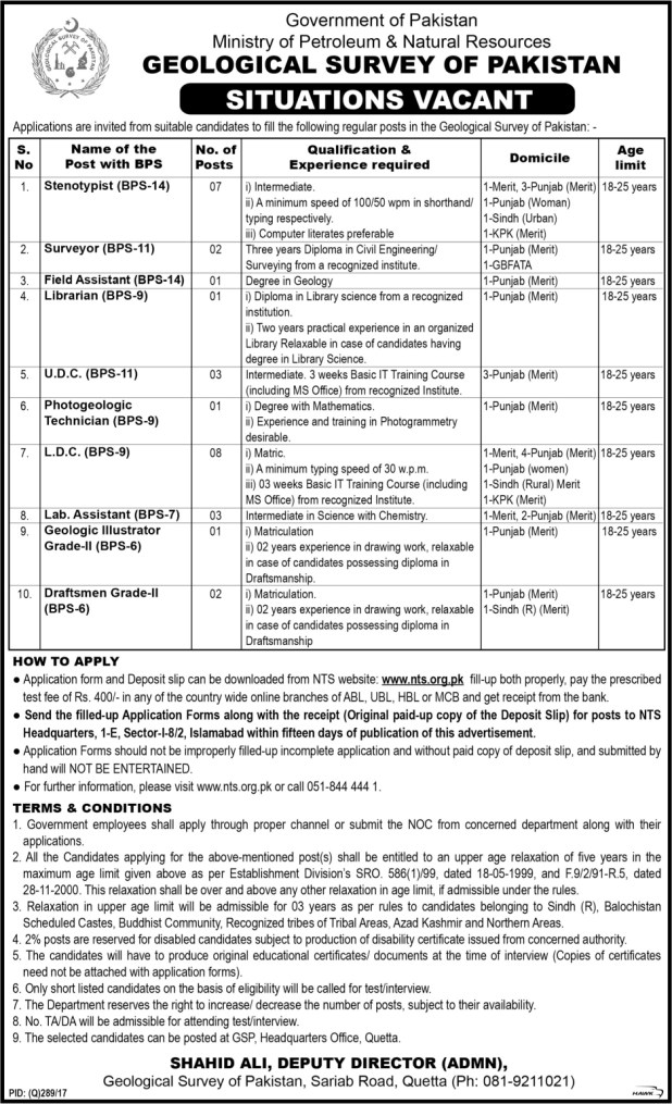 Govt Of Pakistan Ministry of Petroleum & Natural Resources Jobs 2017 Application Form How To Apply Last test Date