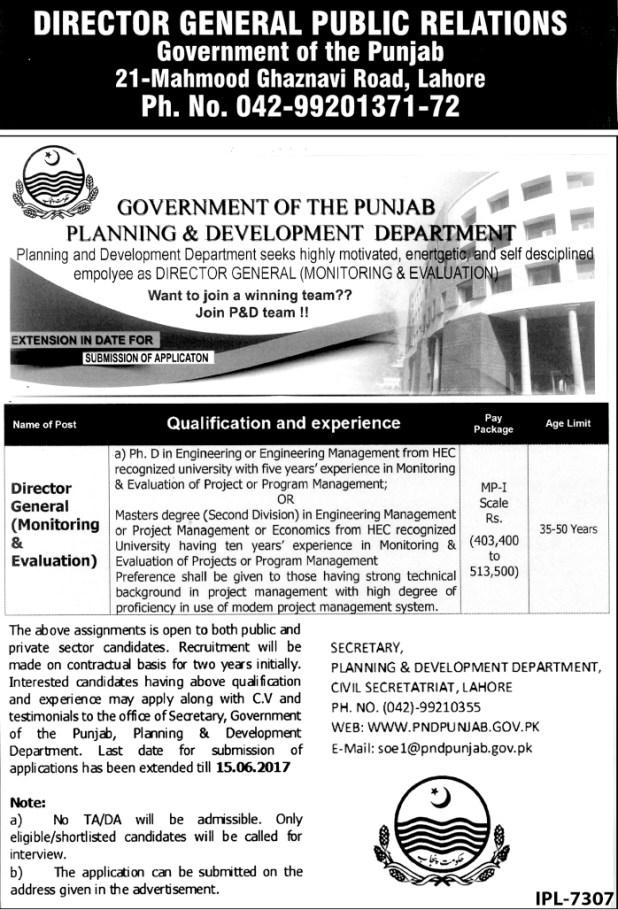 Govt of Punjab Planning & Development Department Jobs 2017 Apply Online Eligibility Criteria Experience Test Schedule Last Date