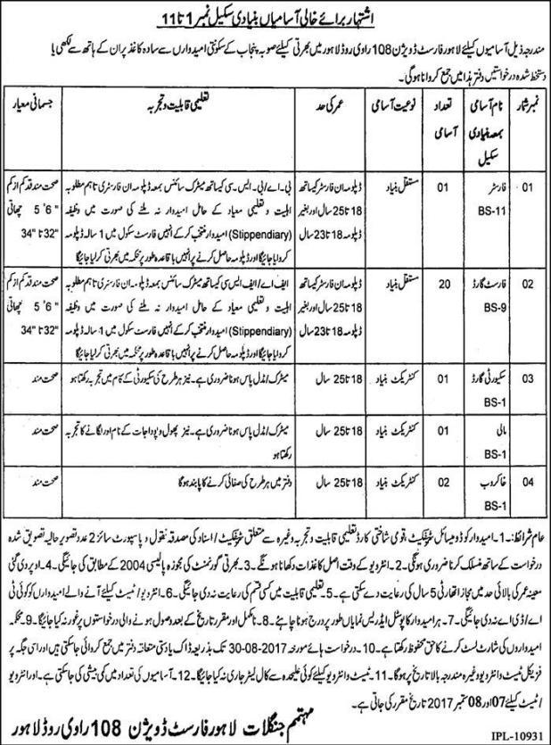 Forest Department Division Lahore Govt Jobs 2017 Application Form Submission Last Date Eligibility Criteria