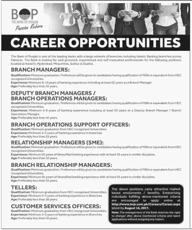 Bank of Punjab BOP Branch and Operations Manager and Support Officer Jobs 2017 Application Form Test and Interview Dates