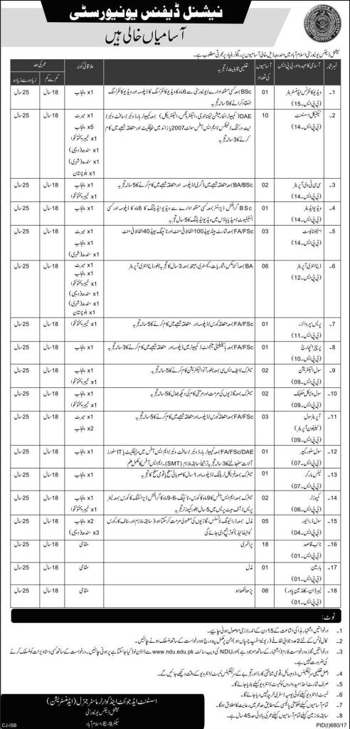 National Defence University NDU Islamabad Technical Assistant and Naib Qasid Jobs 2017 Application Download Last Date of Submission