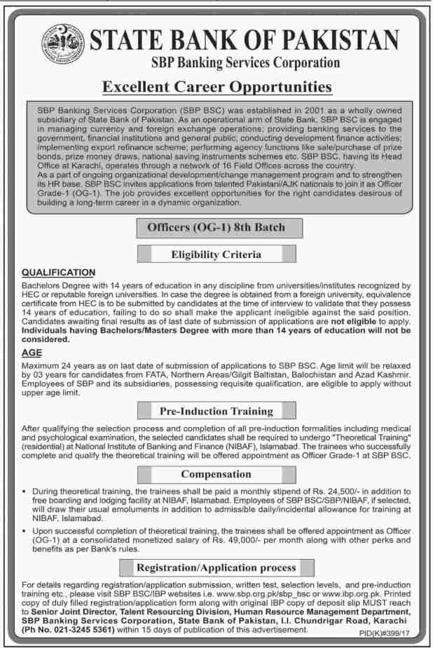 State Bank of Pakistan SBP Jobs 2017 How to Apply Online Procedure Eligibility Criteria and Last Date