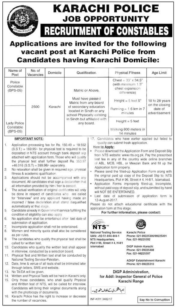 Karachi Sindh Police Jobs 2017 Constable and Lady Constable 2500 Posts NTS Test Interview Application Form