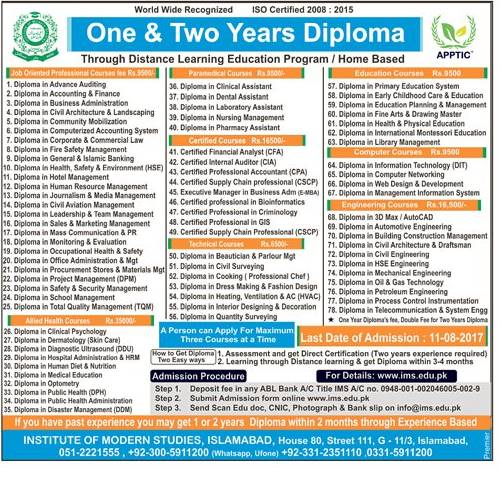 Institute of Modern Studies Islamabad Admissions 2017 Admission Procedure Last Date Contact Details