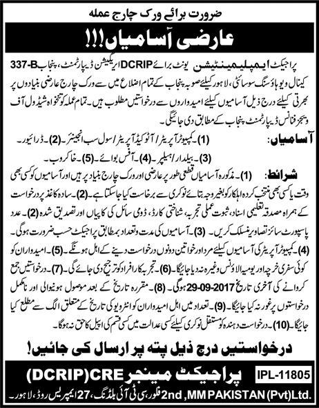 Project Implementation Unit DCRIP Irrigation Department Lahore Jobs 2017 How to Apply Last Date and Schedule