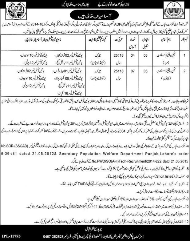Population Welfare and Family Planning Department District Jobs 2017 Form Download Submission Procedure