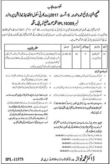 Punjab School of Health and Nutrition Supervisor District Toba Tek Singh Jobs 2017 NTS Test Interview Schedule Merit List