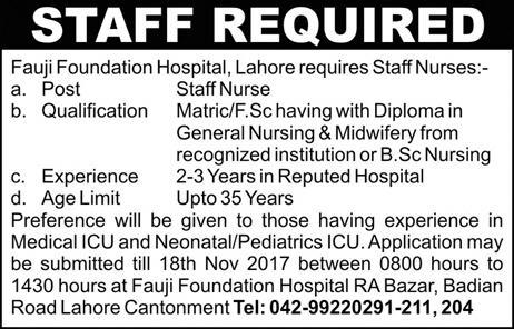 Fauji Foundation Hospital Lahore Jobs 2017 Staff Nurse Posts Qualification Last Date Experience